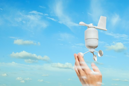 anemometer: ecological concept, anemometer in the sky  Stock Photo