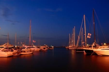 yachts in the marina at twilight