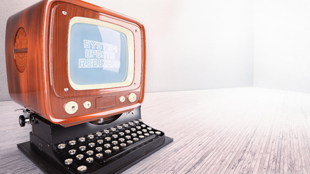concept old computer typewriter system upgrade laptop vintage