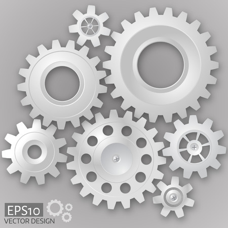 White 3d gears  on the gray background.  Infographic template. Vector design. eps10 Illustration