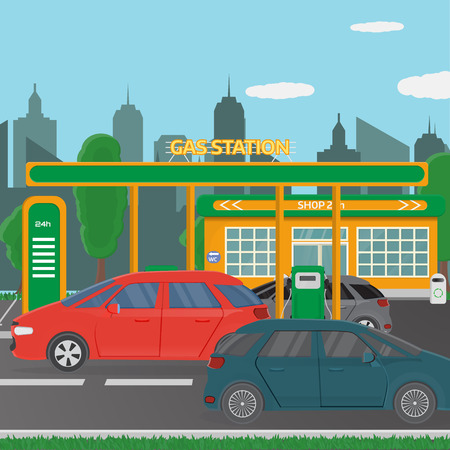 Petrol gas station concept in flat design style. Fuel and energy, pump and car, transportation industry. Vector illustration Illustration