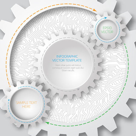 deisgn: Business template. Circuit board with 3d gears.  Infographic template. Vector Deisgn.