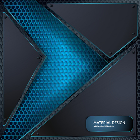 Abstract vector background. Overlapping carbon grid. Material Design style. Hexagon grid. Vector design. Technology background
