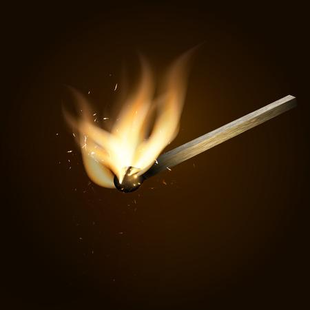 ablaze: Burning match. realistic vector illustration on  dark background