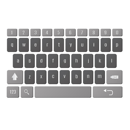 alphabet keyboard: Vector illustration of vector modern keyboard of smartphone, alphabet buttons