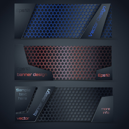 Vector modern banners set with carbon texture.  Hexagon fiber. Vector design. Blue, red, and black hex grid