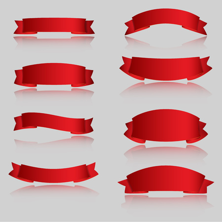 Vector illustration of Realistic Red Glossy vector ribbons with a stripe for your design project