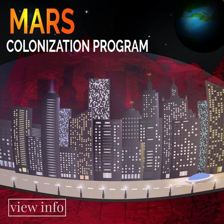 Future city. Martian landscape. Concept for infographic. Mars colonyzation Program. Vector illustration.