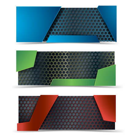 hexagone: Vector modern banners set with carbone texture. Empty banners. Hexagone fiber. Vector design. ?lue, red and green banners.