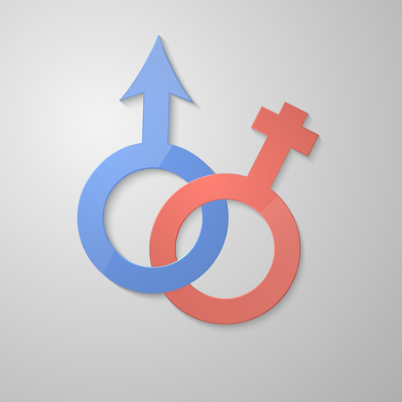 masculin: Venus and Mars female and male symbol. 3d paper design. Vector eps10. Illustration