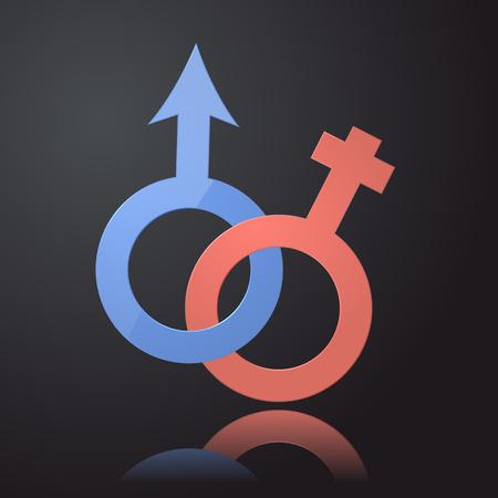 female symbol: Venus and Mars female and male symbol. 3d design. Illustration