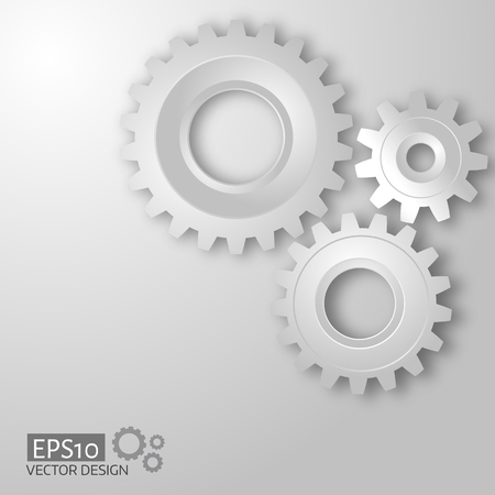 cog gear: White gears on the grey. Infographic template. Illustration