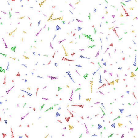 party streamers: Seamless background with party streamers and confetti, illustration