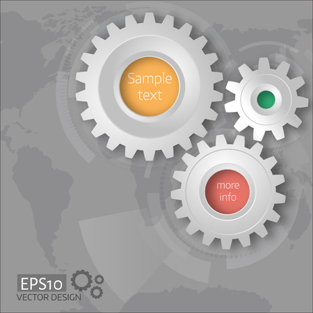 mapa de procesos: illustration of gears with on the grey background. Infographic template. World map background. Hud elements