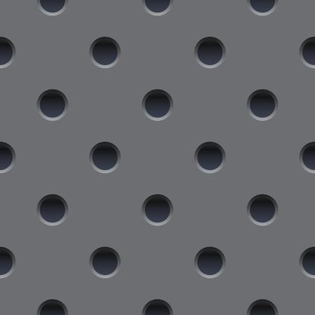 Papel pintado inconsútil de la placa de metal gris perforada. Ilustración de vector