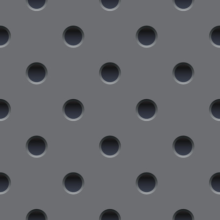 Seamless wallpaper of perforated gray metal plate.