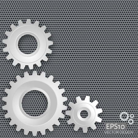 perforated: illustration of gears with on the gear on  perforated metal background. Technology concept Illustration