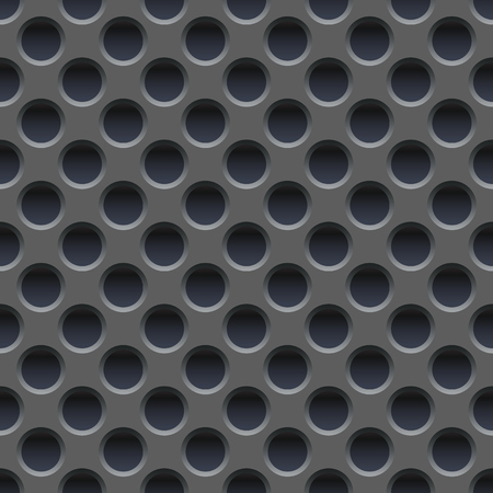Papel pintado inconsútil de la placa de metal gris perforada.