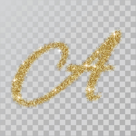 Gold glitter powder letter A in  hand painted style. illustration on transparent background Illustration