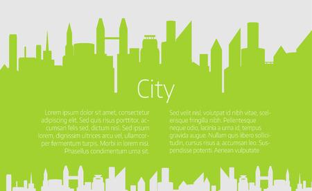 City skyline illustration. Urban landscape. green city silhouette. Cityscape in flat style. Modern city landscape.