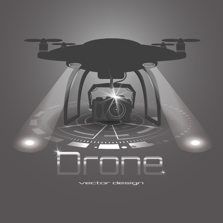 Vector illustration of drone with action camera. Drone logo vector design, icon, black and white. Hud interface background.Bright floodlights