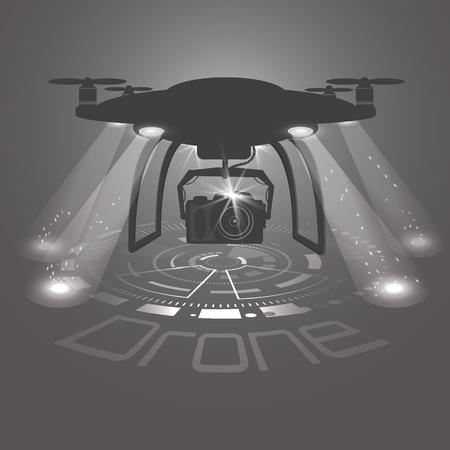 Vektorillustration des Brummens mit Kamera. Drohne Logo-Vektor-Design, Symbol, schwarz und weiß. Hud-Schnittstellenhintergrund Helle Flutlichter