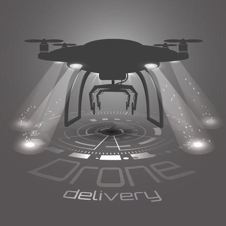 Konzept für den Lieferservice. Lieferung Drohne mit Paket. Drohne Logo Vektor, Symbol, schwarz und weiß. Hud-Schnittstellenhintergrund Helle Flutlichter