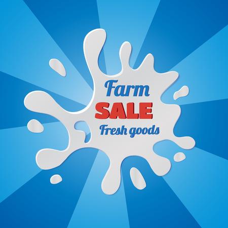 Vector illustration of  Sale splash label design. Milke blot with drops.  Retro