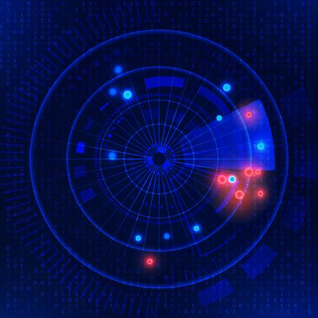 Vector illustration  of  Futuristic technology HUD vector background. Futuristic radar on blue matrix background. Radar target searching.