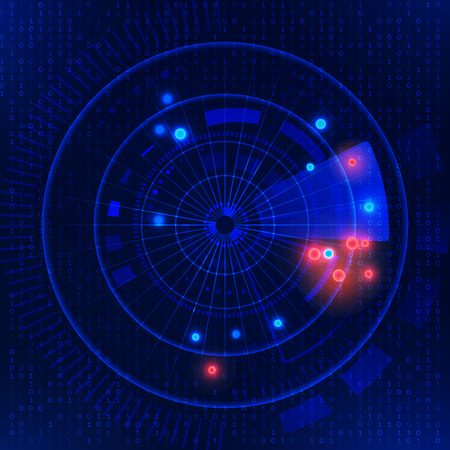 Vector illustration  of  Futuristic technology HUD vector background. Futuristic radar on blue matrix background. Radar target searching.