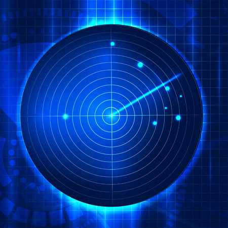 Vector illustration  of abstract vector radar screen. Futuristic user interface. HUD backround. Radar searching target Illustration