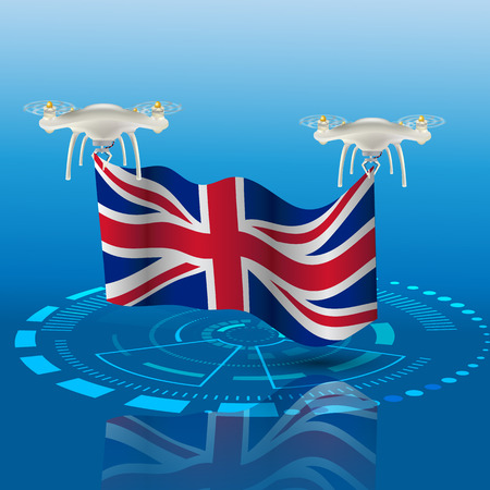 Concept for delivery service United Kingdom. Delivery Drones carry  UK flag  . Vector design.  Colored illustration.  Hud  interface background. Blue floodlight Illustration