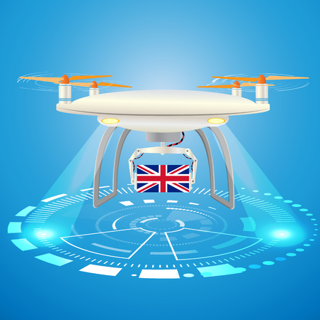 Concept for delivery service in United Kingdom. Delivery drone with UK flag . Abstract design colored vector illustration. Gift Hud  interface background. Blue floodlight