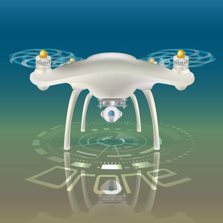 Bunte vektorabbildung des Kamera-Brummens. Helle Scheinwerfer Retro Kamera. Hud Interface Hintergrund. Drohne Reflexion