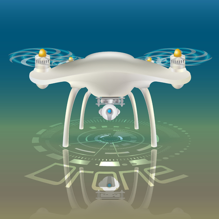 Colorful vector illustration of Camera Drone. Bright floodlights. Retro camera. Hud interface background. Drone reflection.