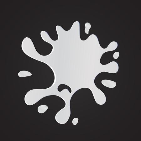 dint: Vector illustration of White milk creame splash. Isolated on black Illustration