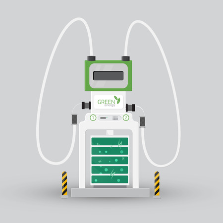 Car charging station. Eco concept. Colorful detail vector icon on light background