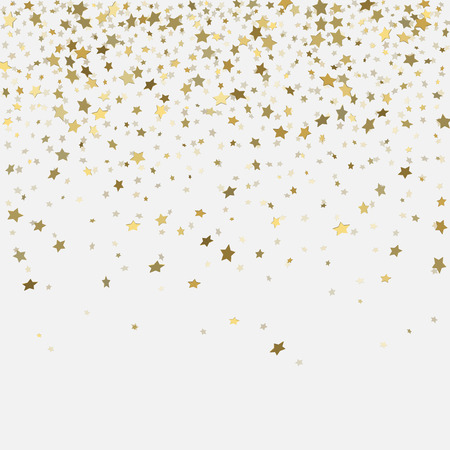 Vector  gold confetti. Gold 3d stars on white background Stock Illustratie