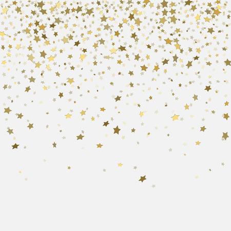 Vector  gold confetti. Gold 3d stars on white background Illustration