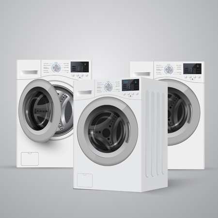up load: realisic vector washers on grey background. Perspective view. Cover  template.  banner design.  Vector illustration. Illustration