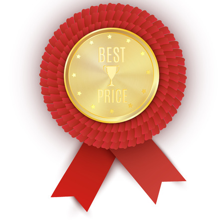quality guarantee: Gold best price badge with red ribbon on white background. Vector design. Eps 10