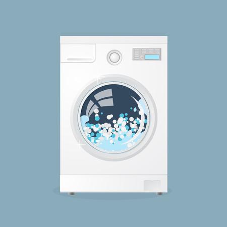 Machine à laver moderne isolée sur fond gris. Machine à laver. Equipement pour laver le linge. Appareils ménagers Vecteurs