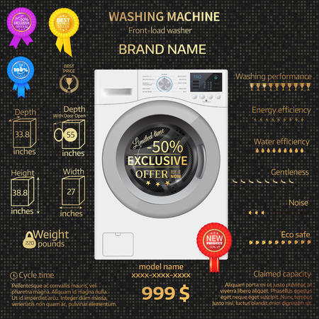 temlate: Vector relistic  illustration of washer. Infographic temlate. Cover or brochure design. Luxury background. Gold letters. Illustration