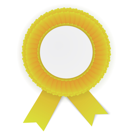 quality guarantee: Colorful yellow rosette with empty paper plate. Place for text. Eps10 vector design.