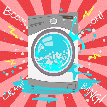 Vector  colorful flat illustration of Broken washing machine in cartoon style. Bubbles,Sparks. Money back guarantee.  Repair service