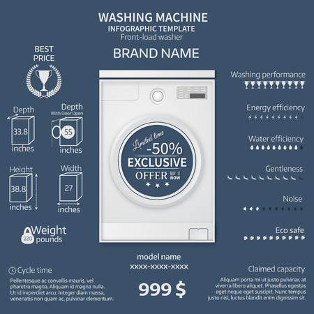 temlate: Vector illustration of washer. Infographic temlate. Cover or brochure design.