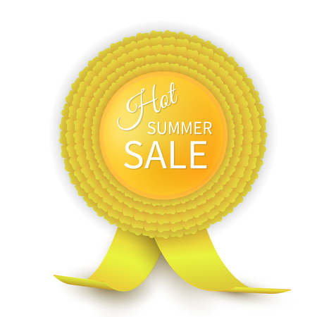 quality guarantee: Colorful yellow rosette. Hot summer Sale. Eps10 vector design.