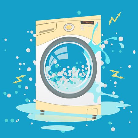 Vector colorful flat illustration of Broken washing machine in cartoon style. Bubbles,Sparks. Money back guarantee. Repair service Vektorové ilustrace