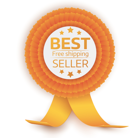 quality guarantee: colorful best price badge with red orange on white background. Vector Design