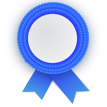 qualify: Colorful  blue rosette with empty paper plate. Place for text. Eps10 vector design.